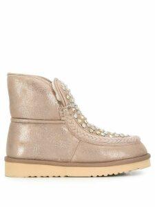 Tosca Blu flat embellished boots - NEUTRALS