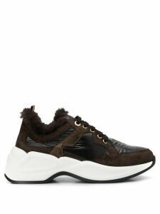 Tosca Blu faux fur low top sneakers - Brown