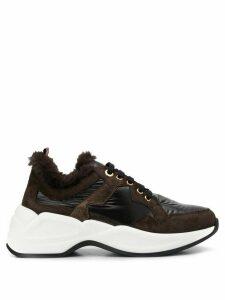 Tosca Blu faux fur low top sneakers - Brown