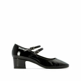 Patent Heeled Ballet Pumps with Buckles