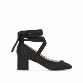 Satin Look Ballet Pumps with Ankle Ties
