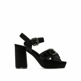 Velvet High Heel Sandals with Diamante Buckles