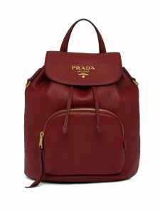 Prada pebbled leather logo backpack - Red