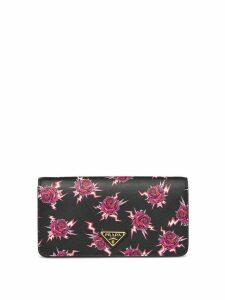 Prada rose-print logo patch shoulder bag - Black