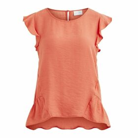 Sleeveless Round Neck Blouse with Ruffled Shoulders