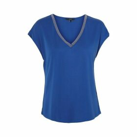 Draping Short-Sleeved V-Neck Blouse