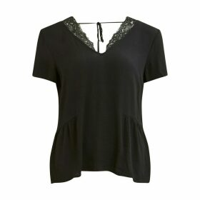 Short-Sleeved V-Neck Blouse with Lace Back