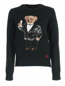 Polo Ralph Lauren Sweater Crew Neck W/teddy Bear And Paillettes