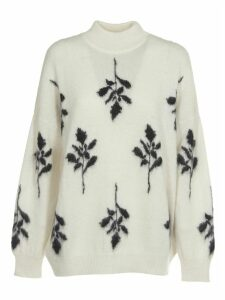 Brognano White And Black Floral Knitted Sweater