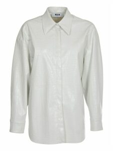 MSGM White Crocodile Print Shirt