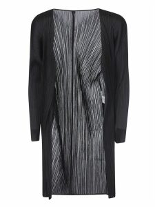 Pleats Please Issey Miyake Pleated Open Cardigan