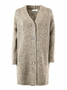 Fabiana Filippi Grey And Stone Wool Cardigan