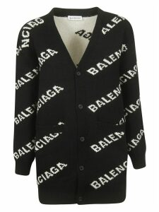 Balenciaga Logo All-over Buttoned Cardigan