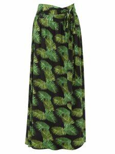 Melissa Odabash - Elsa Palm Tree-print Poplin Maxi Skirt - Womens - Black Print