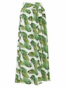 Melissa Odabash - Elsa Palm Tree-print Poplin Maxi Skirt - Womens - White Print