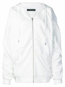 Y/Project ruched zipped hoodie - White