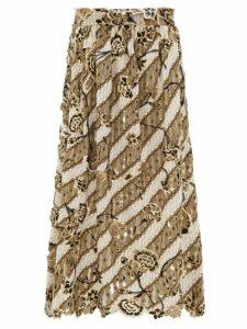 Edward Crutchley - Laser-cut Metallic Floral-print Wool Midi Skirt - Womens - Brown Multi