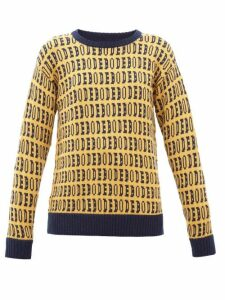 Bode - Signature Logo-jacquard Wool Sweater - Womens - Yellow