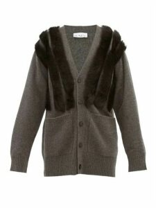 Raey - Panelled Shearling And Cashmere Cardigan - Womens - Charcoal