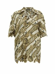 Edward Crutchley - Laser-cut Floral-jacquard Wool Top - Womens - Brown Multi