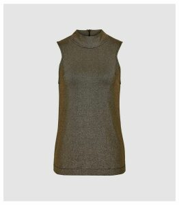 Reiss Siona - High Neck Metallic Top in Gold, Womens, Size XL