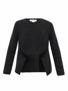 Comme Des Garçons Comme Des Garçons - Cut Out Draped Front Sweater - Womens - Navy