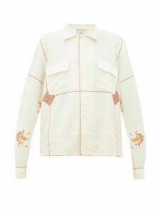 Bode - Mayflower Havana-embroidered Linen-blend Shirt - Womens - White