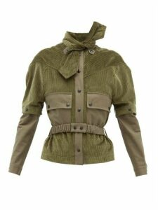 Symonds Pearmain - Neck-tie Detachable-sleeve Cotton-corduroy Jacket - Womens - Khaki