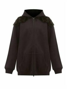 Raey - Panelled Shearling And Cotton Hooded Sweatshirt - Womens - Black