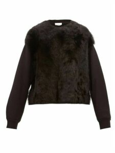 Raey - Panelled Shearling And Cotton Sweatshirt - Womens - Black