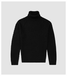 Reiss Leith - Chunky Ribbed Rollneck Jumper in Black, Mens, Size XXL