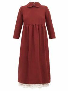 Comme Des Garçons Girl - Ruffle-layer Twill Midi Smock Dress - Womens - Burgundy