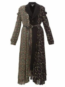Junya Watanabe - Floral-print Wool-blend And Crepe Coat - Womens - Black Multi