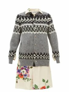 Junya Watanabe - Wool And Floral-print Satin-panelled Cardigan - Womens - Grey Multi