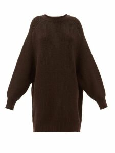 Raey - Oversized Crew Neck Ribbed Wool Sweater - Womens - Dark Brown