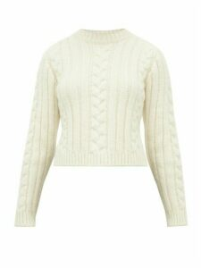 Ganni - Cable-knit Alpaca-blend Sweater - Womens - Ivory