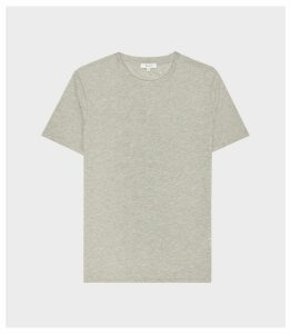 Reiss Bless - Regular Fit Crew Neck T-shirt in Stone Melange, Mens, Size XXL