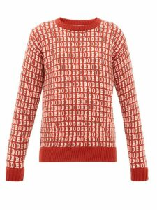 Bode - Signature Logo-jacquard Wool Sweater - Womens - Red