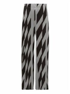 Pleats Please Issey Miyake - Patterned Technical Pleated Wide Leg Trousers - Womens - Black Grey