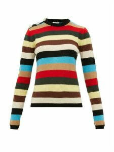 Ganni - Crystal-button Stripe Cashmere Sweater - Womens - Multi