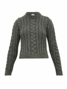Ganni - Cable Knit Alpaca-blend Sweater - Womens - Grey