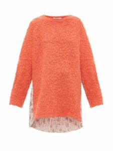 Junya Watanabe - Floral Print Plissé And Bouclé Knit Sweater - Womens - Coral