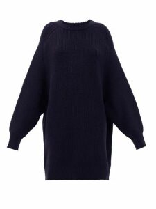 Raey - Oversized Crew Neck Ribbed Wool Sweater - Womens - Navy