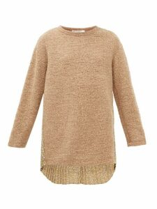 Junya Watanabe - Floral Print Plissé And Bouclé Knit Sweater - Womens - Beige Multi