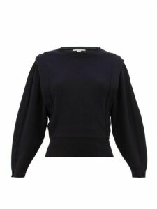 Stella Mccartney - Pintuck Pleat Wool Blend Sweater - Womens - Navy