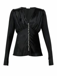 Paco Rabanne - Crystal-button Velvet Blouse - Womens - Black
