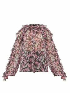 Giambattista Valli - Ruffled Floral-print Silk-chiffon Blouse - Womens - Black Multi