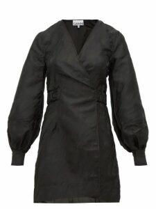 Ganni - Satin Jacquard Mini Wrap Dress - Womens - Black
