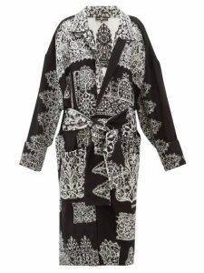 Edward Crutchley - Lace Effect Jacquard Longline Wool Cardigan - Womens - Black White