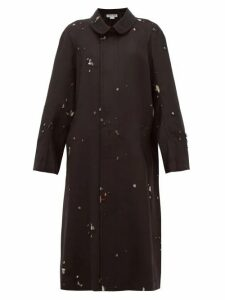 Comme Des Garçons Comme Des Garçons - Single-breasted Distressed Wool-twill Coat - Womens - Black Multi